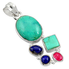 Clearance Sale- 15.02cts natural green turquoise tibetan lapis lazuli 925 silver pendant d36277