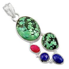 925 silver 16.05cts natural green turquoise tibetan lapis lazuli pendant d36278