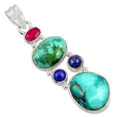 Clearance Sale- 18.15cts natural green turquoise tibetan lapis lazuli 925 silver pendant d36279