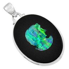 Clearance Sale- 16.73cts lady face natural black opal cameo on black onyx silver pendant d36281