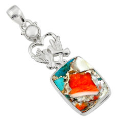 Clearance Sale- 21.30cts spiny oyster arizona turquoise 925 silver love birds pendant d36284