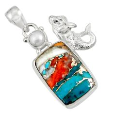 925 silver 18.15cts spiny oyster arizona turquoise fairy mermaid pendant d36285