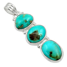 Clearance Sale- 19.23cts natural green campitos turquoise 925 sterling silver pendant d36289