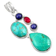 19.23cts natural green turquoise tibetan lapis lazuli 925 silver pendant d36293