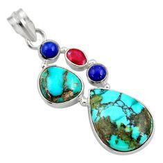 Clearance Sale- 18.94cts natural green turquoise tibetan lapis lazuli 925 silver pendant d36298