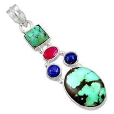 Clearance Sale- 925 silver 11.93cts natural green turquoise tibetan lapis lazuli pendant d36300