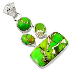 17.18cts green copper turquoise 925 sterling silver pendant jewelry d36301