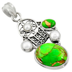 925 silver 12.64cts green copper turquoise hand of god hamsa pendant d36306