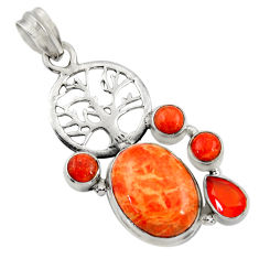 Clearance Sale- 925 silver 13.45cts red copper turquoise cornelian tree of life pendant d36308