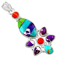 925 sterling silver 17.42cts multi color copper turquoise pendant jewelry d36318