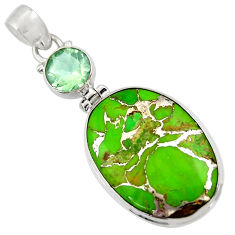 Clearance Sale- 19.23cts green copper turquoise amethyst 925 sterling silver pendant d36321