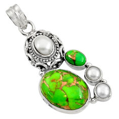 Clearance Sale- 925 sterling silver 14.99cts green copper turquoise pearl pendant jewelry d36323