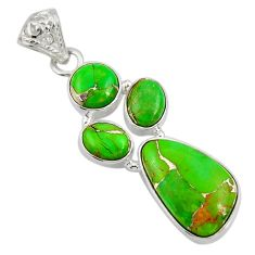 Clearance Sale- 925 sterling silver 13.24cts green copper turquoise pendant jewelry d36326