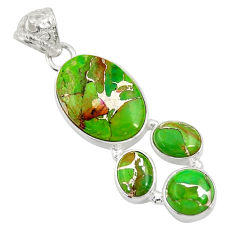 14.45cts green copper turquoise 925 sterling silver pendant jewelry d36327