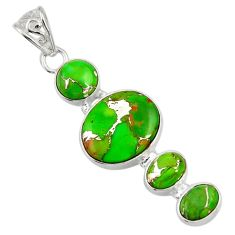 925 sterling silver 13.27cts green copper turquoise pendant jewelry d36329