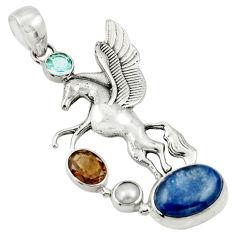 Clearance Sale- 10.88cts natural blue kyanite smoky topaz 925 silver unicorn pendant d36341