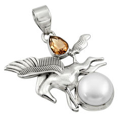 Clearance Sale- 925 silver 8.12cts natural white pearl smoky topaz unicorn pendant d36343
