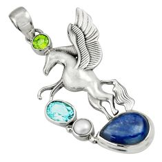 Clearance Sale- 925 sterling silver 10.38cts natural blue kyanite peridot unicorn pendant d36347