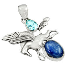 Clearance Sale- 9.35cts natural kyanite topaz 925 sterling silver unicorn pendant jewelry d36348