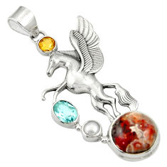 Clearance Sale- 11.87cts multi color mexican laguna lace agate 925 silver unicorn pendant d36353