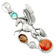 Clearance Sale- 9.93cts natural sunstone (hematite feldspar) 925 silver unicorn pendant d36354