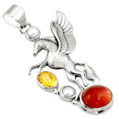 Clearance Sale- 925 silver 11.38cts natural sunstone (hematite feldspar) unicorn pendant d36355
