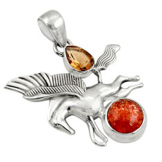 Clearance Sale- 7.23cts natural sunstone (hematite feldspar) 925 silver unicorn pendant d36356