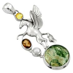 Clearance Sale- 925 silver 18.47cts natural green moss agate smoky topaz unicorn pendant d36358