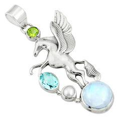 Clearance Sale- 925 silver 10.43cts natural rainbow moonstone peridot unicorn pendant d36359