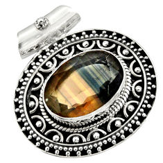 Clearance Sale- 14.22cts natural multi color fluorite 925 sterling silver pendant jewelry d36365