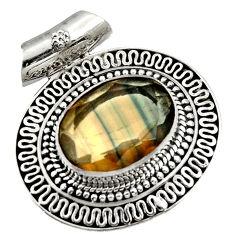 multi color fluorite 925 sterling silver pendant jewelry d36385