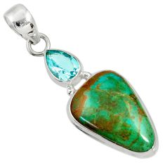 Clearance Sale- 14.23cts natural green opaline topaz 925 sterling silver pendant jewelry d36402