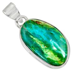 Clearance Sale- 925 sterling silver 11.73cts natural green opaline fancy pendant jewelry d36403