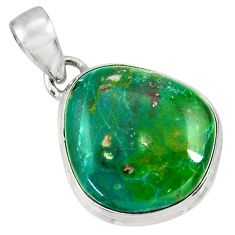 Clearance Sale- 12.22cts natural green opaline 925 sterling silver pendant jewelry d36413