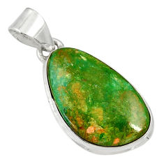 Clearance Sale- 12.55cts natural green opaline 925 sterling silver pendant jewelry d36414