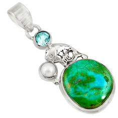 Clearance Sale- 12.83cts natural green opaline topaz 925 sterling silver pendant jewelry d36422
