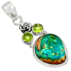 Clearance Sale- 12.60cts natural green opaline peridot 925 sterling silver flower pendant d36423