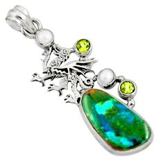 Clearance Sale- 925 silver 18.15cts natural green opaline peridot pearl dragon pendant d36424