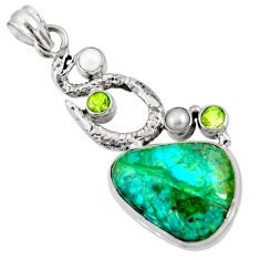 Clearance Sale- 18.66cts natural green opaline peridot 925 sterling silver snake pendant d36426