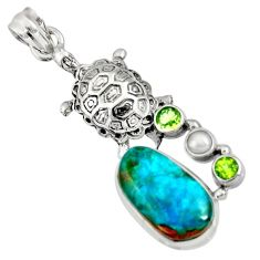 Clearance Sale- 925 sterling silver 12.34cts natural green opaline peridot turtle pendant d36428
