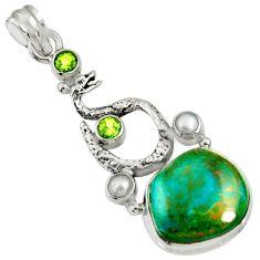 18.17cts natural green opaline peridot 925 silver anaconda snake pendant d36429