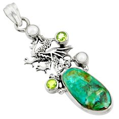 925 sterling silver 14.12cts natural green opaline peridot dragon pendant d36431