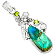 Clearance Sale- 16.83cts natural green opaline 925 silver angel wings fairy pendant d36432