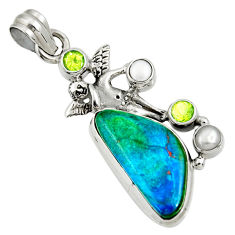 Clearance Sale- 925 silver 14.72cts natural green opaline fancy angel wings fairy pendant d36434