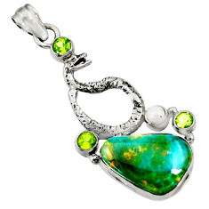 Clearance Sale- 16.07cts natural green opaline peridot 925 silver anaconda snake pendant d36435