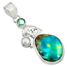 Clearance Sale- 15.47cts natural green opaline topaz 925 sterling silver pendant jewelry d36437