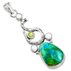 Clearance Sale- 925 silver 17.36cts natural green opaline peridot anaconda snake pendant d36438