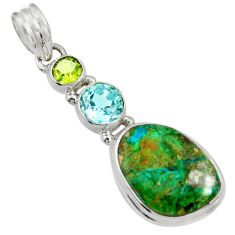 Clearance Sale- 12.60cts natural green opaline peridot 925 sterling silver pendant d36439