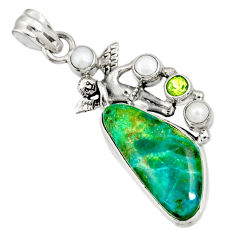 Clearance Sale- 15.85cts natural green opaline peridot 925 sterling silver angel pendant d36440