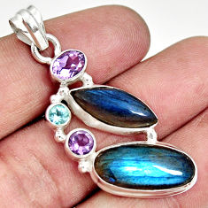 Clearance Sale- 925 sterling silver 16.92cts natural blue labradorite amethyst pendant d36455